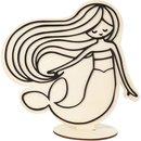 Deko-Figur, Meerjungfrau, Holz mit Moosgummi, Beutel 1...