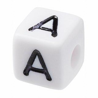 Schnulli-Buchstaben-Würfel 10 mm, weiß, Kunststoff