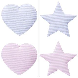 Stoffhänger für Mobile - Stern oder Herz ca. 8 cm, Beutel 2 Stück