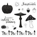 Herbststempel, Herbstleuchten, m. Apfel, Pilzen, Eicheln, 13 Motive, 1 Bogen