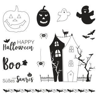 Halloween Stempel, Kürbisse, Gespenst, Spukhaus, 13 Motive, 1 Bogen