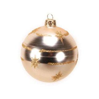 Exklusive Glaskugel mit Sternenband mundgeblasen gold
