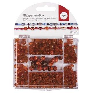 Glasperlen-Box, capriorange, 115g, Farb- und Größenmix