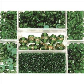 Glasperlen-Box, smaragd, 115g, Farb- und Größenmix