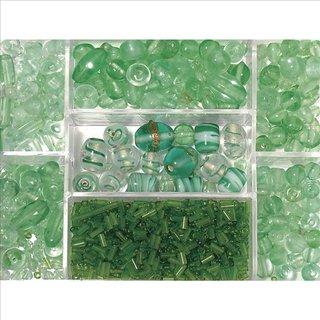 Glasperlen-Box, jade, 115g, Farb- und Größenmix