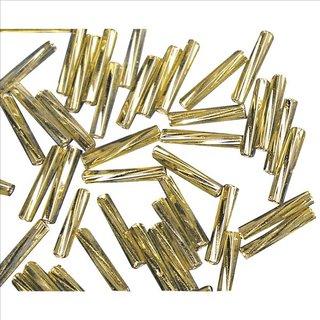 Glasstifte twistet, 12 mm, gold, mit Silbereinzug , 10g