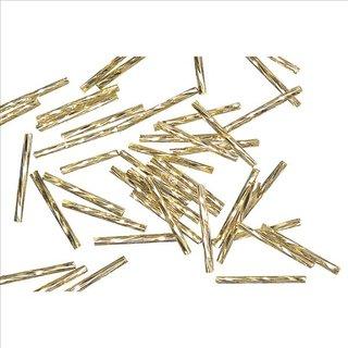 Glasstifte twistet, 25 mm, gold, mit Silbereinzug, 10g