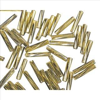 Glasstifte twistet, 12 mm, gold, mit Silbereinzug, 14g