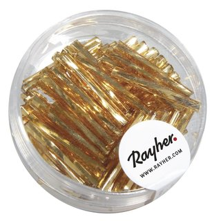 Glasstifte twistet, 20 mm, gold, mit Silbereinzug, Dose 13g