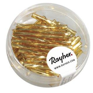 Glasstifte twistet, 25 mm, gold, mit Silbereinzug, Dose 11g