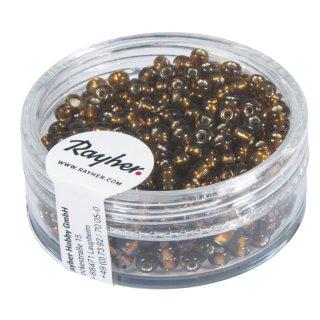 Rocailles, 2,6 mm ø, mit Silbereinzug, d.braun, Dose 16g