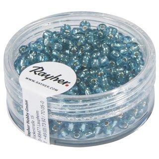 Rocailles, 2,6 mm ø, mit Silbereinzug, türkis, Dose 16g