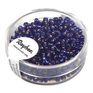Rocailles, 2,6 mm ø, mit Silbereinzug, d.blau, Dose 16g