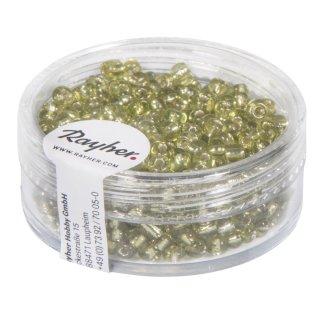 Rocailles, 2,6 mm ø, mit Silbereinzug, h.grün, Dose 16g