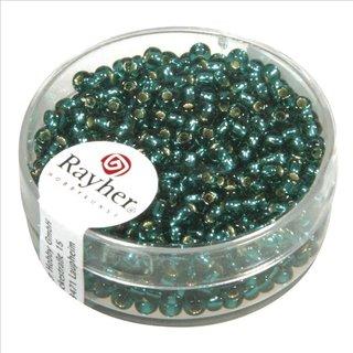Rocailles, 2,6 mm ø, mit Silbereinzug, jade, Dose 16g
