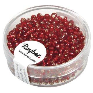 Rocailles, 2,6 mm ø, mit Silbereinzug, rot, Dose 16g