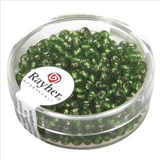 Rocailles, 2,6 mm ø, mit Silbereinzug, grün, Dose 16g