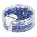Rocailles, 2,6 mm ø, transp.gelüstert, d.blau, Dose 17g