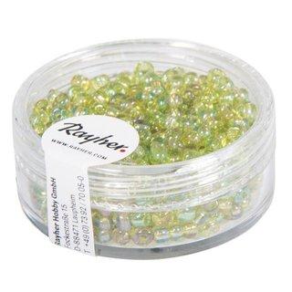 Rocailles, 2,6 mm ø, transp.gelüstert, h.grün, Dose 17g