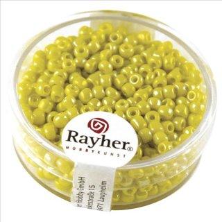 Rocailles, 2,6 mm ø, opak gelüstert, gelb, Dose 17g