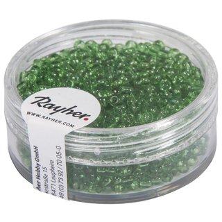 Rocailles, 2 mm ø, transparent, grün, Dose 17g