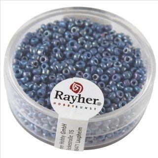 Rocailles, 2 mm ø, opak gelüstert, hellblau, Dose 17g