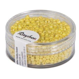 Rocailles, 2 mm ø, opak gelüstert, gelb, Dose 17g