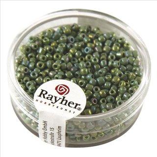 Rocailles, 2 mm ø, opak gelüstert, grün, Dose 17g