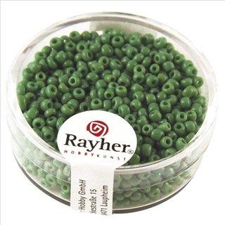 Rocailles, 2 mm ø, opak, grün, Dose 17g