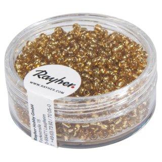 Rocailles, 2 mm ø, mit Silbereinzug, gold, Dose 17g