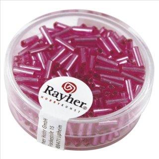 Glasstifte, 7/2 mm, mit Silbereinzug, pink, nicht waschbar, Dose 15g