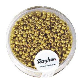 Rocailles, 2,6 mm ø, perlmutt, gold, nicht waschbar, Dose 17g