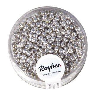 Rocailles, 2,6 mm ø, perlmutt, silber, nicht waschbar, Dose 17g