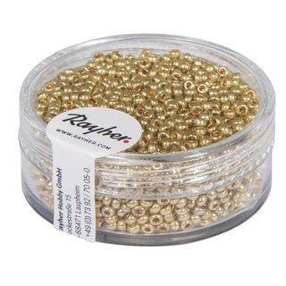 Rocailles, 2,0 mm ø, perlmutt, gold, nicht waschbar, Dose 17g