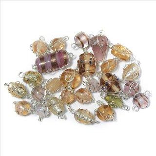 Schmuck-Glasperlen mit Silberdraht, rosé, 12-25 mm, 20 g
