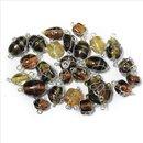 Schmuck-Glasperlen mit Silberdraht, topas, 12-25 mm, 20 g