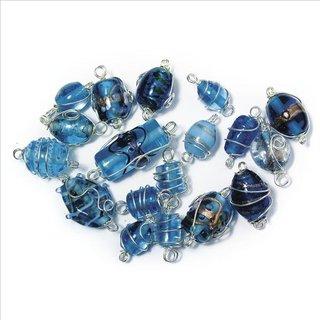 Schmuck-Glasperlen mit Silberdraht, aquamarin, 12-25 mm, 20 g