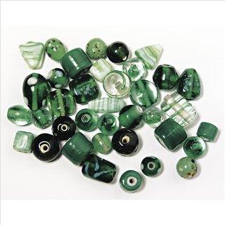 Schmuck-Glasperlen, smaragd, 6-18 mm, 40 g, Beutel