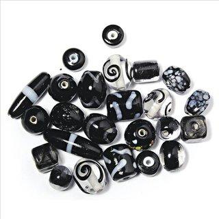 Schmuck-Glasperlen, schwarz, 6-18 mm, 40 g, Beutel