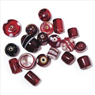 Schmuck-Glasperlen, rubin, 6-18 mm, 40 g, Beutel