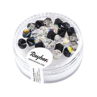 Swarovski Kristall-Schliffperlen, Schwarz-Weiß-Töne, 6 mm, Dose 25 Stück
