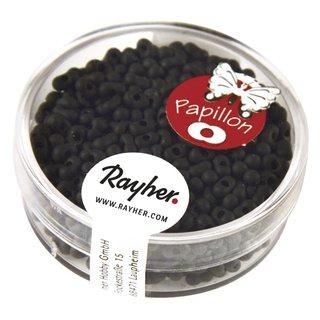 Papillon-Rocailles, 2x4 mm, matt schwarz, Dose 18g