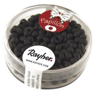 Papillon-Rocailles, 3,2x6,5 mm, matt schwarz, Dose 18g