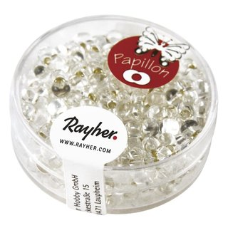 Papillon-Rocailles, 3,2x6,5 mm, bergkristall, Dose 18g