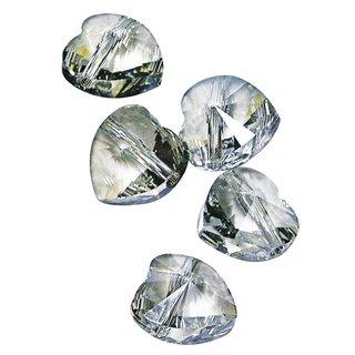 Swarovski Kristall-Herz, Querloch, silver shadow, 10 mm, Dose 5 Stück