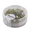 Glas Schliffperle, 4mm ø, olive, irisierend, Dose 100 Stück