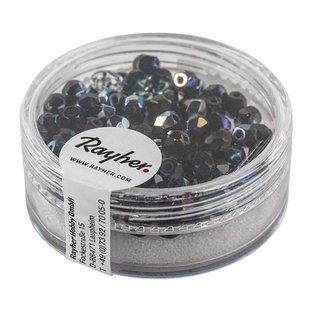 Glas Schliffperle, 4mm ø, onyx, irisierend, Dose 100 Stück