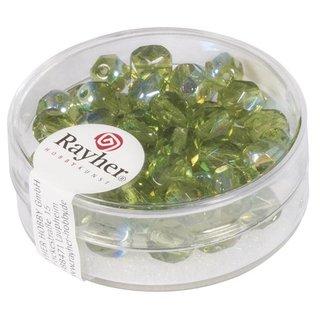Glas-Schliffperlen, 6 mm ø, irisierend, olive, Dose 50 Stück