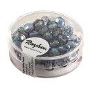 Glas-Schliffperlen, 6 mm ø, irisierend, blaugrau, Dose 50 Stück