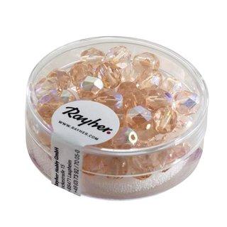 Glas-Schliffperlen, 6 mm ø, irisierend, rosenquarz, Dose 50 Stück
